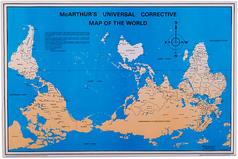The upsidedown map page francis irving mcarthurs universal corrective map of the world gumiabroncs Choice Image
