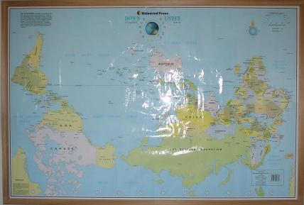 Australia In World Map.The Upsidedown Map Page Francis Irving