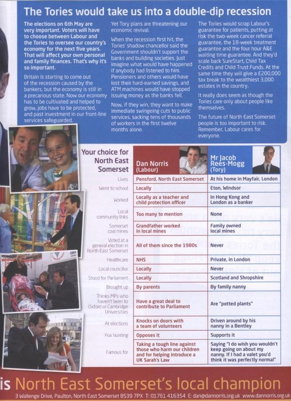 Rees-Mogg CV Election Leaflet