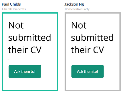 Not submitted their CV